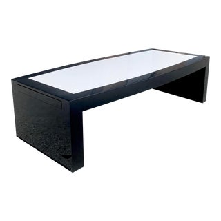 1970s Monumental Mid-Century Modern Black & White Coffee Table For Sale