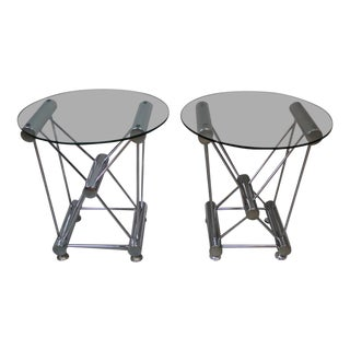 Atomic Base Chrome and Glass Side Table - Only 1 in Stock