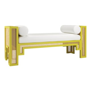 Alexandra Bench - Citron, Optic White Linen For Sale