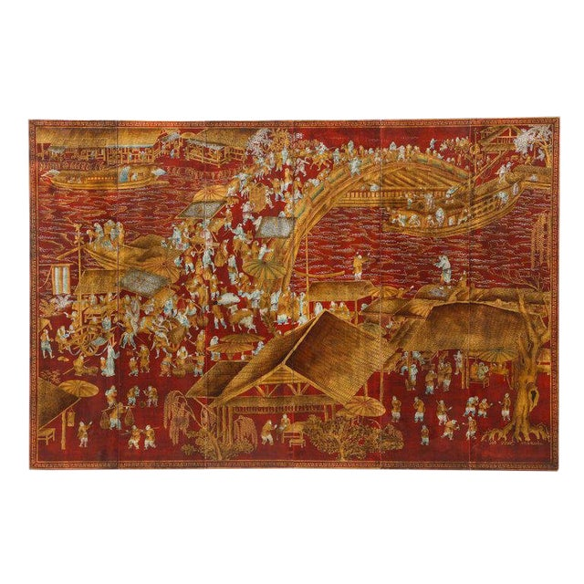 Chinoiserie Red Lacquered Panels - Set of 6 For Sale