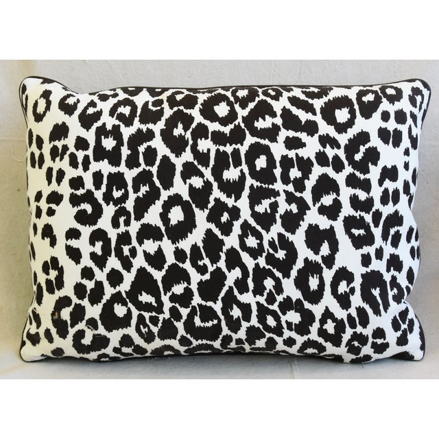 """Italian Schumacher Animal Leopard Spot & Leather Feather/Down Pillows 22"""" X 16"""" - Pair For Sale - Image 3 of 13"""