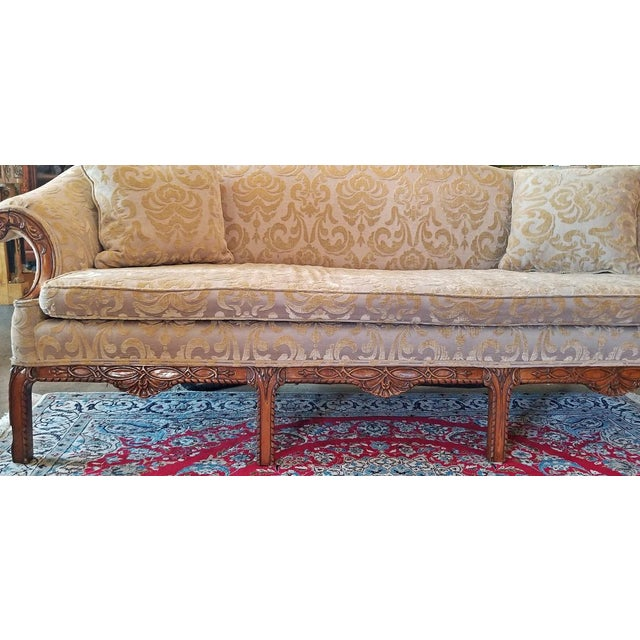 Brown 19c Chippendale Style Camel Back Sofa For Sale - Image 8 of 12