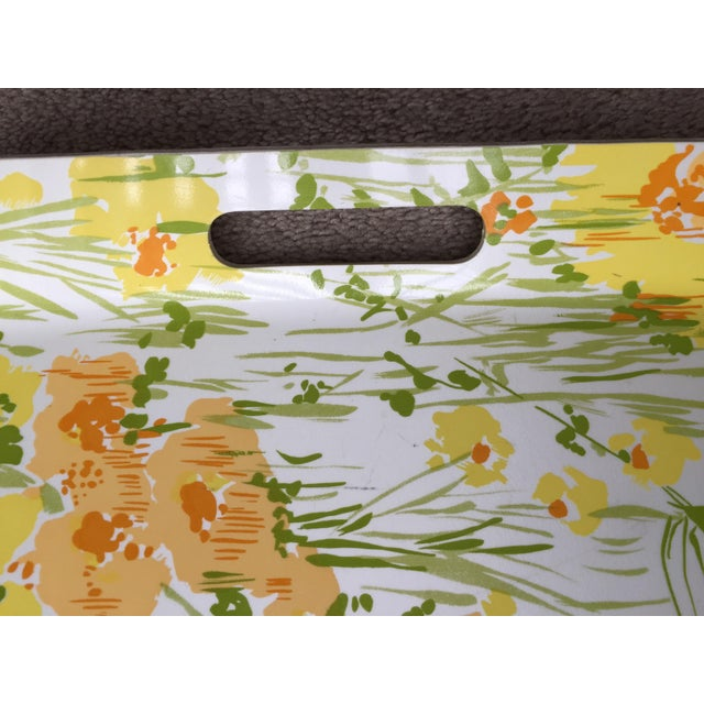 "Vintage D. Porthault 22""Yellow Floral Tray - Image 4 of 4"