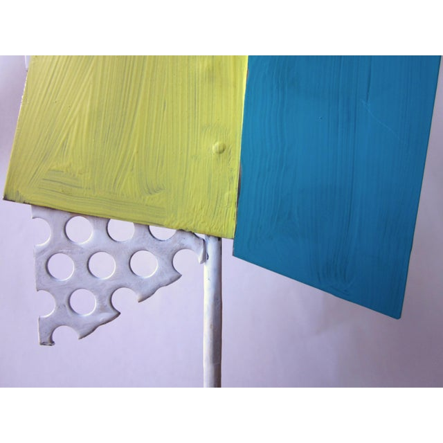 1980s Postmodern Perforated Metal Painted Abstract Sculpture For Sale - Image 4 of 6