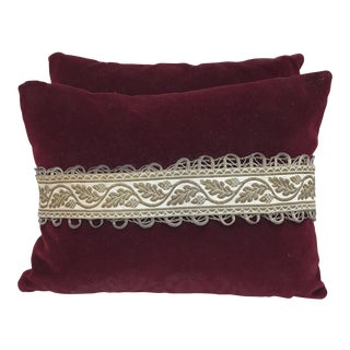 Red Velvet Pillows With Antique Trim - A Pair For Sale