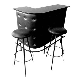 Jacques Adnet Style Bar With Two Stools French Mid-Century Modern, 1950s For Sale