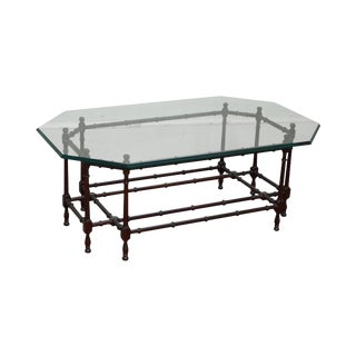 Quality Mahogany Faux Bamboo Base Glass Top Coffee Table For Sale