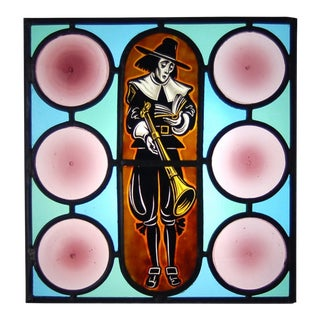1930s Vintage Pilgrim Bible & Blunderbuss Amethyst Rondels Stained Painted Glass For Sale