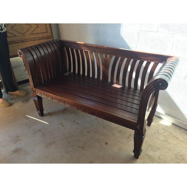 Slatted Carved Wooden Bench For Sale - Image 4 of 5