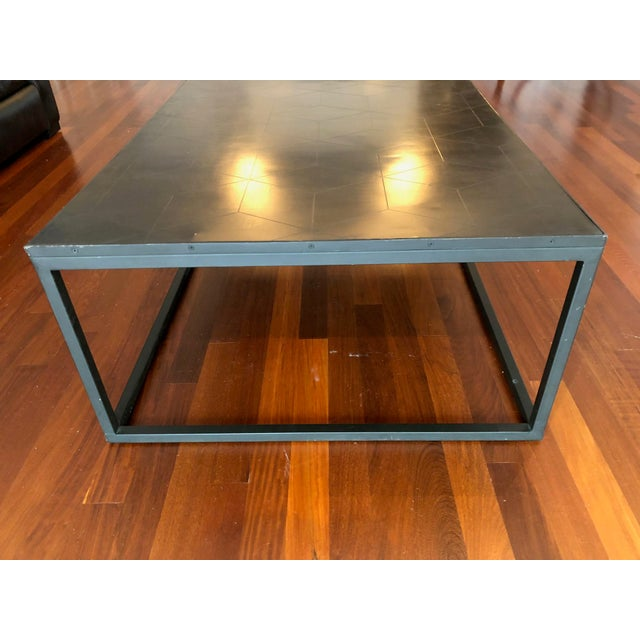 Restoration Hardware Restoration Hardware Metal Parquet Coffee Table For Sale - Image 4 of 6
