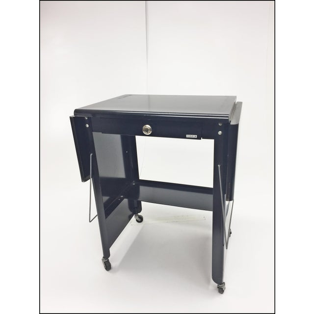 Vintage Industrial Black Typewriter Table With Double Drop Leaf by Cole Steel For Sale - Image 9 of 13