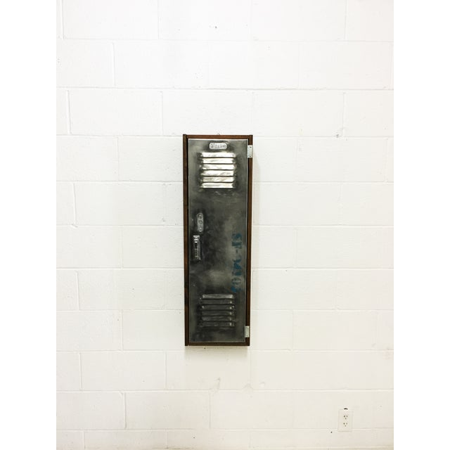 Industrial Wood & Brushed Metal Wall Cabinet - Image 2 of 6