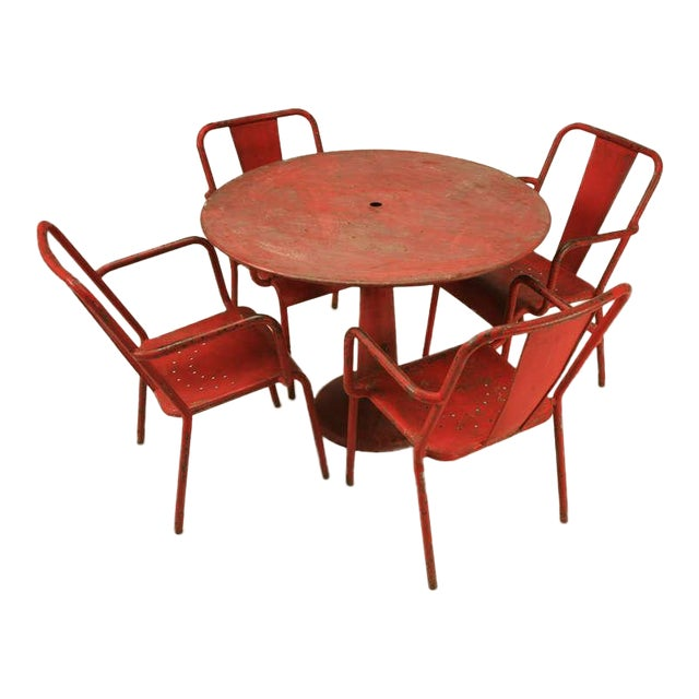 Oo-la-la!! Look out! This fabulous set of original red Industrial furniture from France has that just right appearance,...