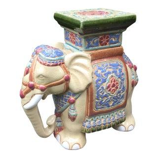 Vintage Ceramic Elephant Figurine Plant Stand
