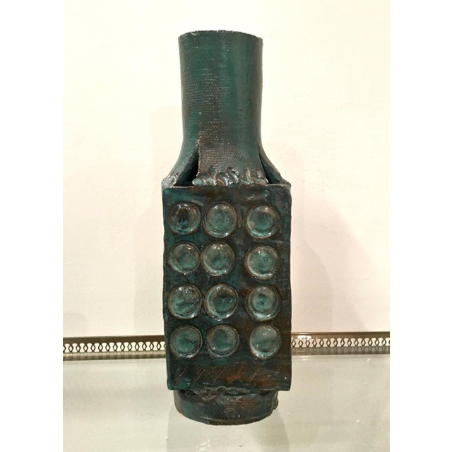 Mid Century Abstract Glazed Pottery Vase - Image 2 of 7
