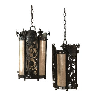 Patinated Bronze Lanterns With Mica Panels After Addison Mizner C. 1920 For Sale
