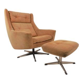 Vintage Eran Mobler for John Stuart Suede Lounge Chair & Ottoman For Sale