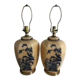 Vintage Floral Motif with Birds Glass Lamps - a Pair For Sale