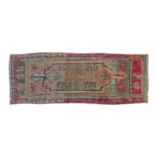 Distressed Low Pile Turkish Yastik Petite Rug Low Pile Faded Mat - 16'' X 44'' For Sale