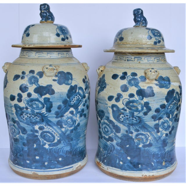 Chinoiserie Chinoiserie White & Blue Baluster Temple With Birds / Ginger Jars - a Pair For Sale - Image 3 of 5