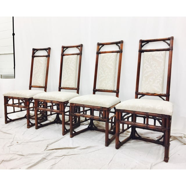 Vintage Bamboo & Rattan Dining Chairs - Set of 4 - Image 4 of 11