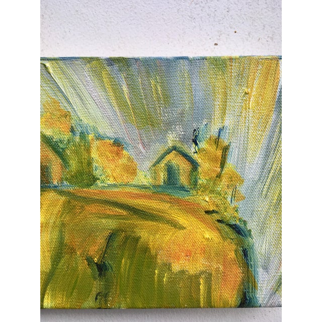 Classic abstract oil painting of a bucolic countryside. Shades of ochre, gold, green and grays. Canvas is especially thick...