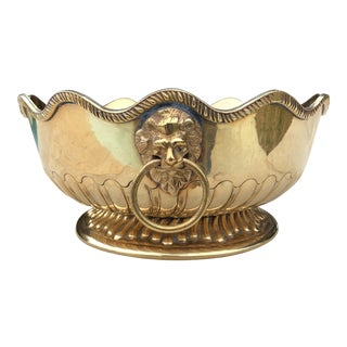 Mid-Century Solid Brass Dual Lions Head Bowl For Sale