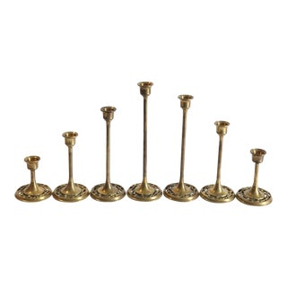 Brass Candle Sticks - Set of 7 For Sale