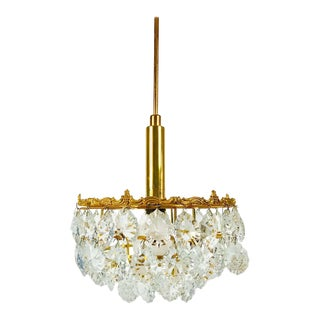 Gilt Brass and Crystal Glass 4-Tier Chandelier by Palwa, Germany, 1970 For Sale
