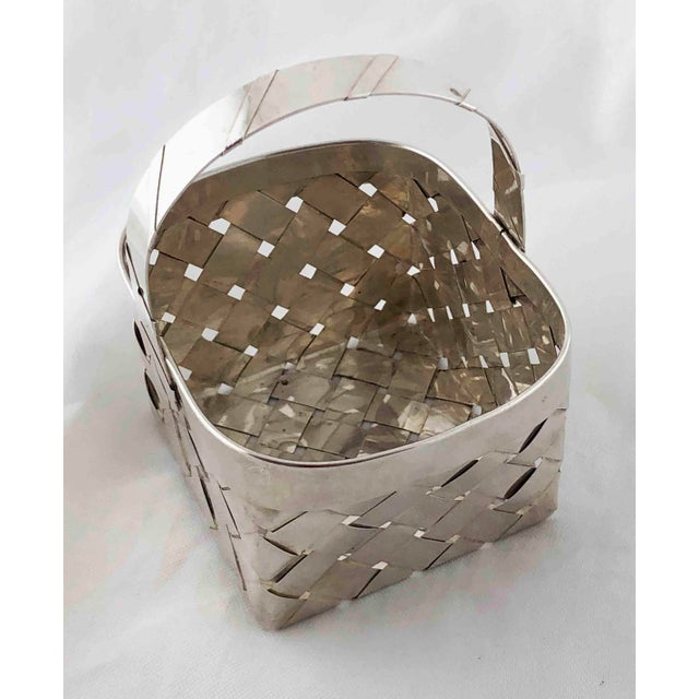 Vintage Sterling Silver Woven Basket With Handle For Sale - Image 4 of 9