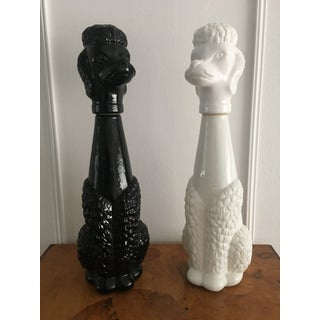 Vintage Black and White Milk Glass Poodle Statues/ Decanters - a Pair Preview