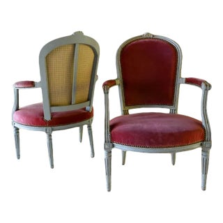 Louis XVI Style Wood & Velvet Armchairs - a Pair For Sale