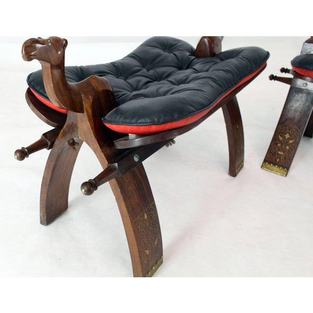 Pair of Carved Rosewood Camel Benches Stools For Sale In New York - Image 6 of 8