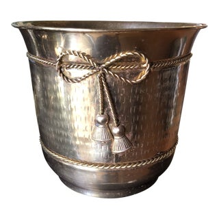 1970s Hollywood Regency Tassel Wastebasket For Sale