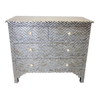 Ebony & White Bone Inlay Dresser For Sale