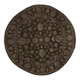 Round Brown Oushak Rug with Traditional Modern Style For Sale