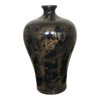 Hollywood Regency Chinese Chinoiserie Black & Gold Dragon Porcelain Vase Urn