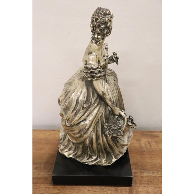 Silver 20th Century Italian Sculpture in Silvered Clay Figure of a Lady by B Tornati For Sale - Image 8 of 12