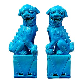 """Vintage Chinese Ceramic 10"""" Turquoise Foo Dogs - a Pair For Sale"""