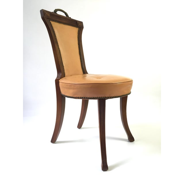 Regency Style Brass Handle Leather Chair - Image 3 of 8