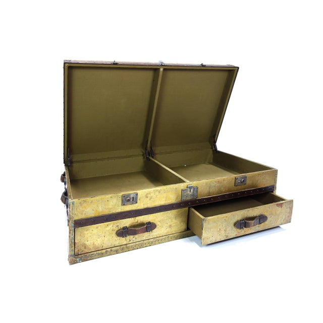 Brass and Leather Trunk Coffee Table - Image 2 of 3