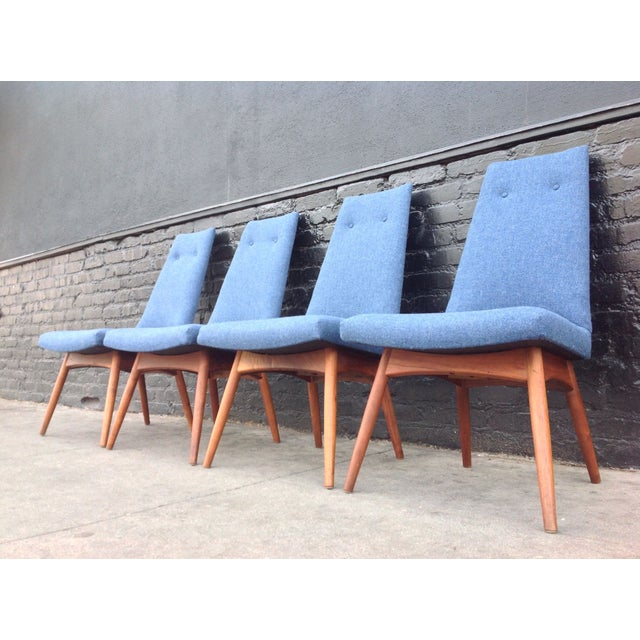 Original Mid-Century, newly upholstered dining chairs by Adrian Pearsall . The high tufted backs and periwinkle blue...