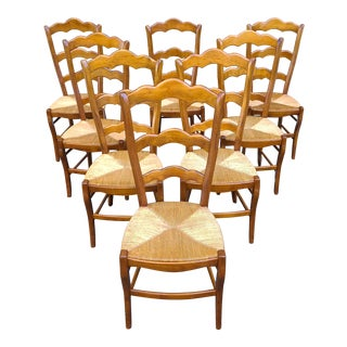 Vintage Country French Ladder Back Rush Side Chairs - - Set of 8 For Sale
