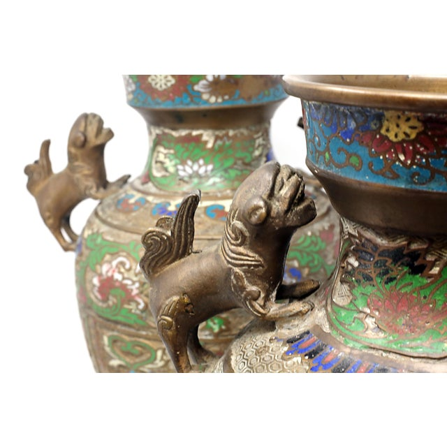 Asian Vintage Bronze Champleve Urns With Foo Dog Handles - a Pair For Sale - Image 3 of 11