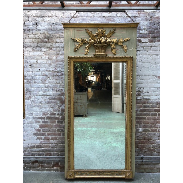 A North Italian Gilt Wood and French Olive Painted Trumeau Mirror, 18th Century For Sale - Image 10 of 10