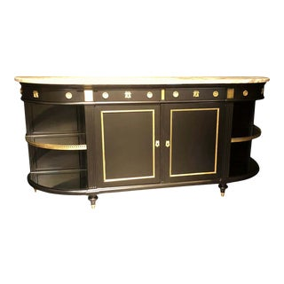 Jansen Hollywood Regency Sideboard, Console, Ebony W Marble Top and Bronze Deco For Sale