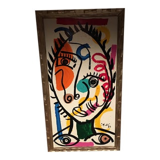 Peter Keil Large Cubist Abstract Painting, Framed For Sale