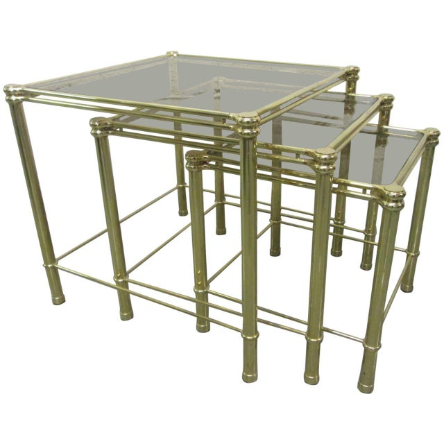 1960s Brass Nesting Tables Attributed to Maison Raphael For Sale - Image 5 of 5