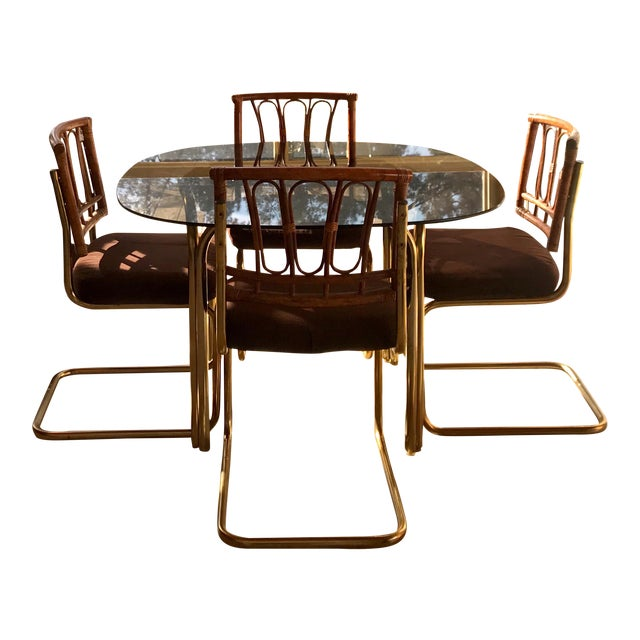 1970's Brass & Rattan Smoked Glass Dining Set - Image 1 of 7
