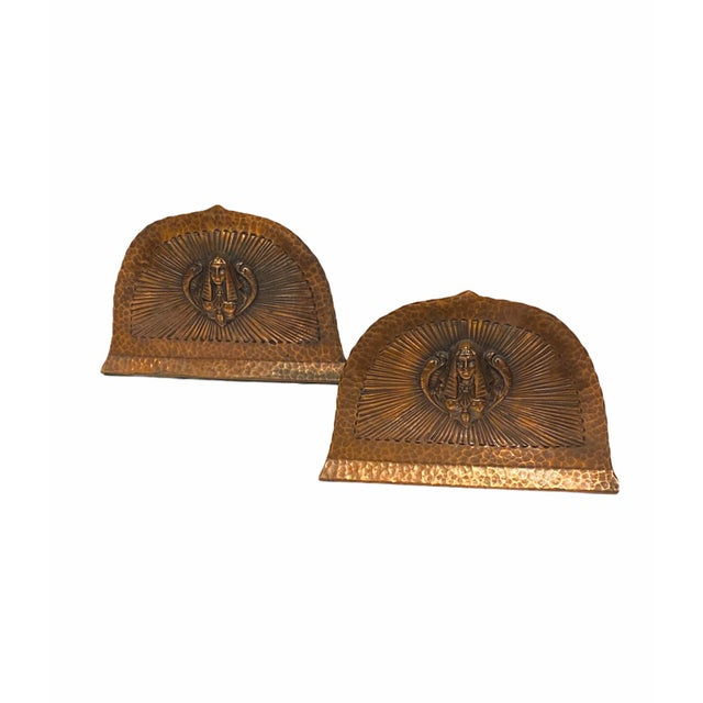 1920s Art Deco Egyptian Revival Hand Hammered Copper Bookends - a Pair For Sale - Image 5 of 11